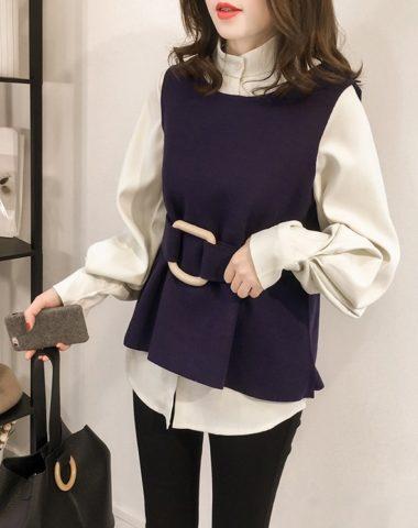 AL903 : Set áo sơ mi trắng + áo dạ mỏng sát nách thắt đai eo