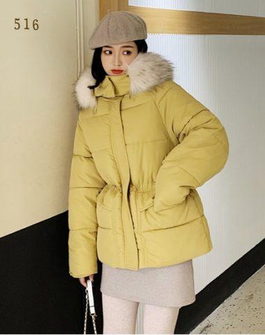 K1958 : Áo khoác phao thân ngắn rút eo mũ lông thú