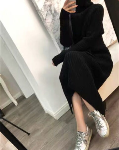 DL1904 : Đầm len dệt kim dài cổ lọ gập ấm áp