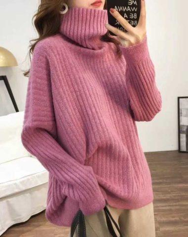 AL906 : Áo len dệt kim dày dáng suông thụng cổ lọ cao