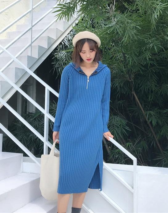 DL1905 : Đầm len dệt kim xẻ bên có mũ sau
