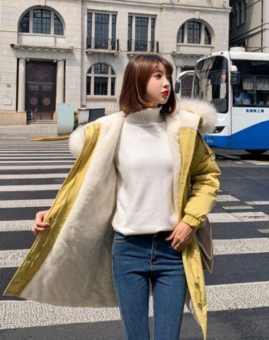 K1962 : Áo khoác phao Hàn Quốc lót lông cừu dày mũ lông thú cao cấp