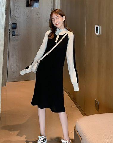 DL1906 : Đầm len dệt kim phối tay màu cổ cao kéo khóa