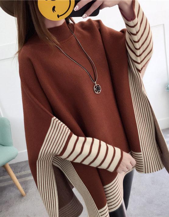 AL907 : Áo choàng len Hàn Quốc cổ cao suông rộng tay cánh dơi