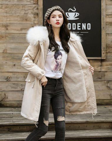 K1964 : Áo khoác kaki thân dài Hàn Quốc lót lông cừu mũ lông cáo