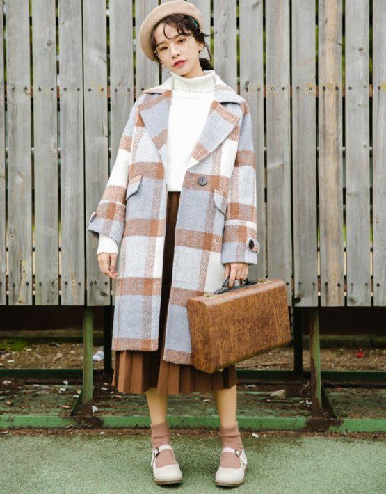K1952 : Áo khoác dạ sọc kẻ to thân dài HQ cổ bẻ