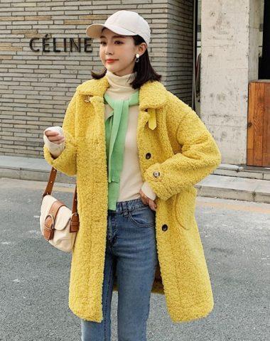 K1948 : Áo khoác lông cừu cao cấp thân dài cổ bẻ cài nút
