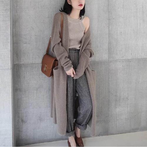 K1937 : Áo khoác len dệt kim dày thân dài 2 túi to Hàn Quốc