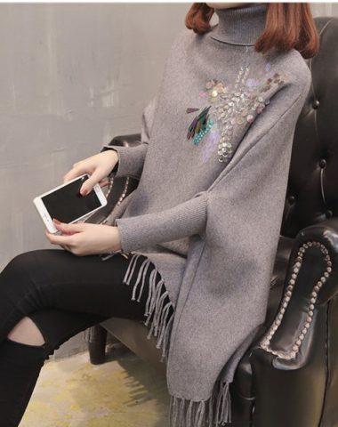 AL909 : Áo choàng len Hàn Quốc cổ lọ gập đính sequin phối tua rua