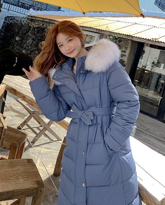 K1966 : Áo khoác phao thân dài Hàn Quốc mũ lông thú thắt đai eo