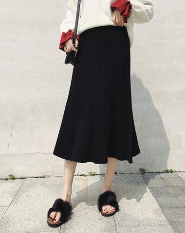 CL1901 : Chân váy len tăm dệt kim HQ xòe