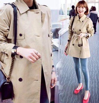 K1930 : Áo khoác kaki thân ngắn cổ vest HQ thắt đai eo