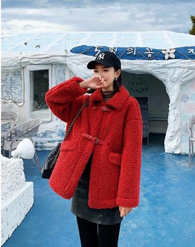 K1949 : Áo khoác dạ lông cừu cao cấp thân ngắn cổ bẻ cài khóa