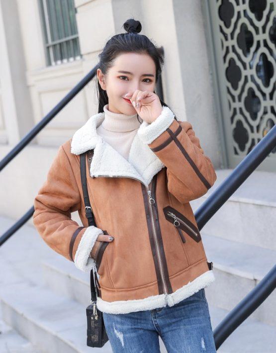 K1943 : Áo khoác da lộn cổ bẻ lót lông cừu cao cấp khóa chéo