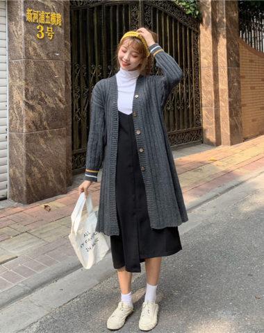 K1935 : Áo khoác len dệt kim thân dài cổ chữ V cài nút