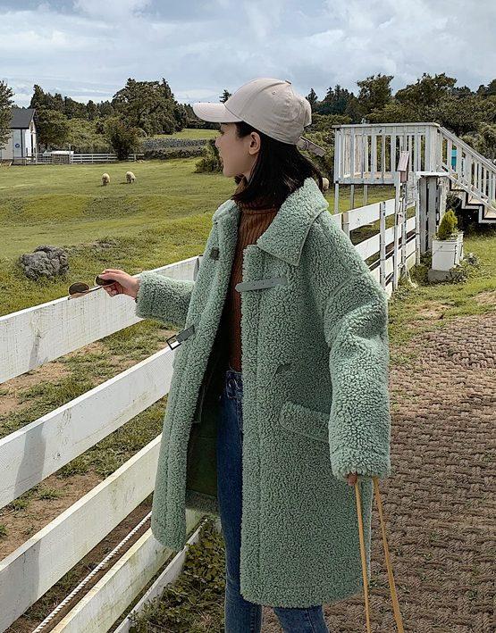 K1951 : Áo khoác lông cừu da lộn thân dài có mũ sau 2 túi