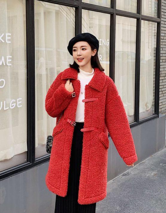K1950 : Áo khoác dạ lông cừu cao cấp thân dài cổ bẻ cài khóa