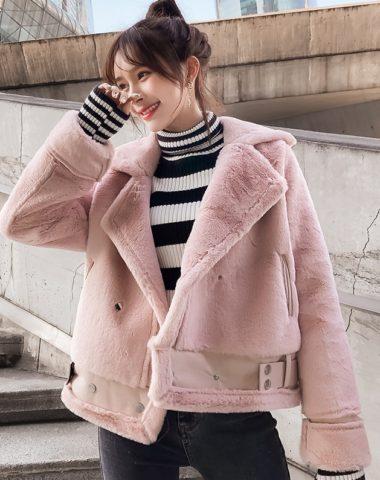 K1944 : Áo khoác lông thỏ HQ cao cấp cổ bẻ mẫu mới 2020
