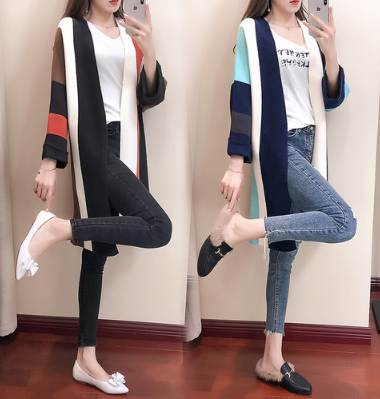 K1940 : Áo khoác len dày thân dài phối 4 màu sọc