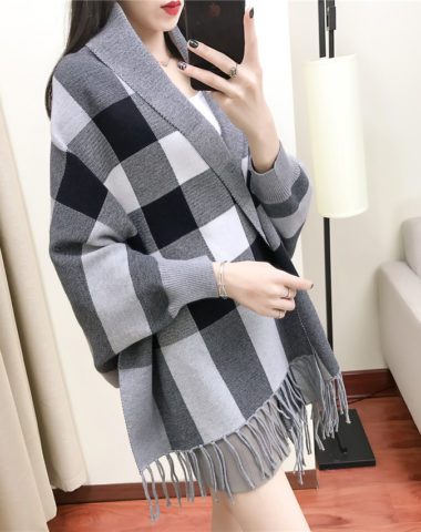 K1941 : Áo khoác len khăn choàng dày sọc ô vuông cao cấp