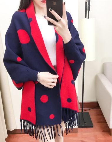 K1942 : Áo khoác len khăn choàng dày đốm tròn to cao cấp
