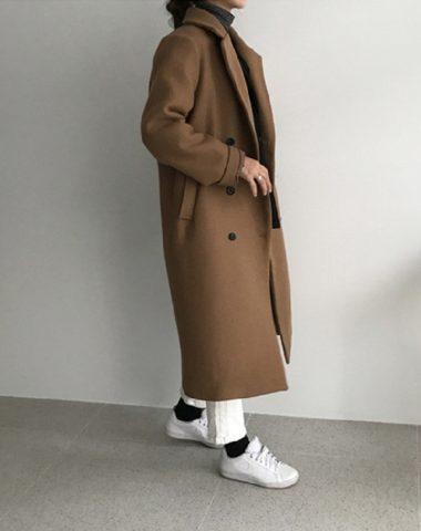 K1956 : Áo khoác dạ mịn dáng dài Hàn Quốc cổ 2 ve màu đơn giản