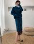 DL1911 : Set đầm len dệt kim cổ tròn + áo choàng sát nách ngoài