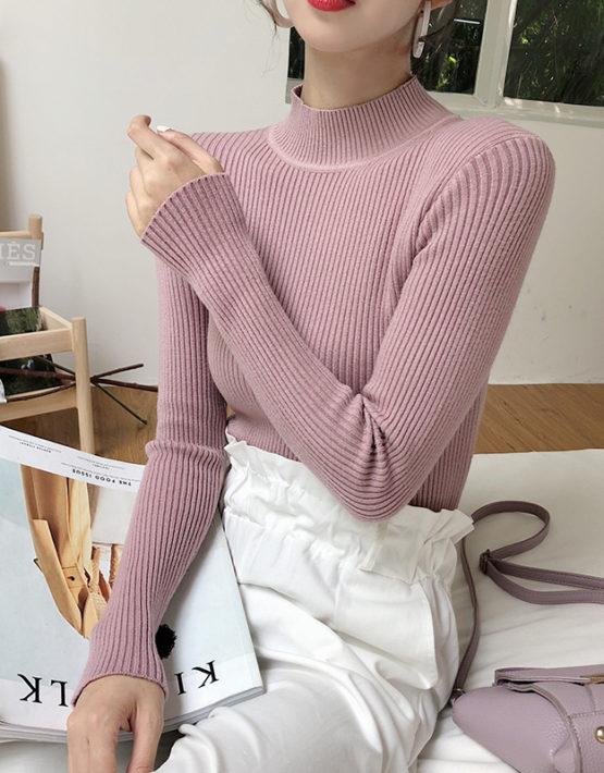 AL913 : Áo len dệt kim mềm mại cổ cao