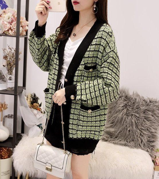 K1973 : Áo khoác len dệt kim sọc ô vuông kim tuyến 4 túi