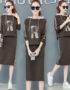 DL1916 : Set bộ váy len dệt kim chữ R sọc thể thao có mũ sau