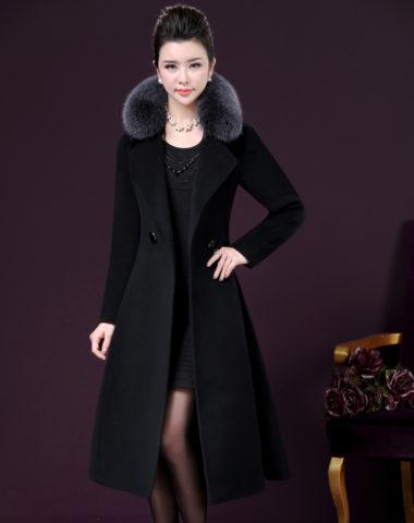 K1978 : Áo khoác dạ thân dài cổ lông cáo cao cấp thắt đai eo