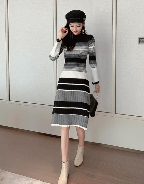 DL1919 : Đầm len dệt kim sọc kẻ xòe Hàn Quốc