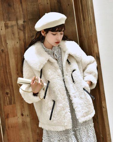 K1975 : Áo khoác lông cừu mịn cổ bẻ cài 3 quai nút
