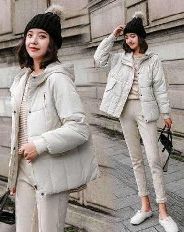 K1982 : Áo khoác phao thân ngắn dày có mũ sau túi chéo