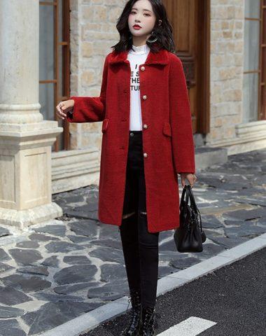 K1968 : Áo khoác lông cừu cao cấp cổ bẻ cài nút