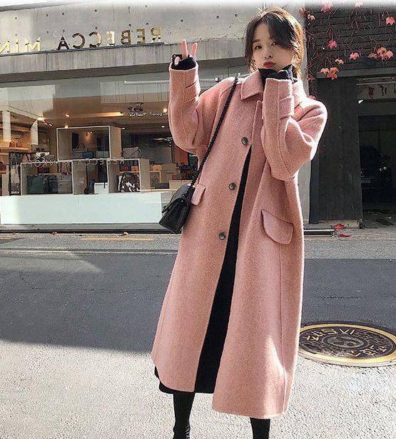 K1969 : Áo khoác dạ Hàn Quốc thân dài dày cổ bẻ