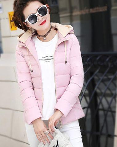 K1984 : Áo khoác phao lông vũ thân ngắn có mũ sau 2 túi khóa
