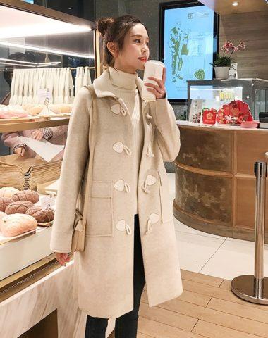 K1970 : Áo khoác dạ HQ 2 túi trước cổ bẻ cài nút ngang