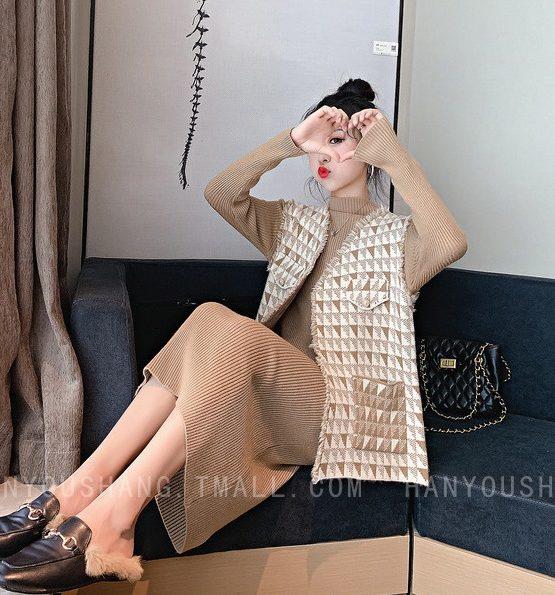 DL1923 : Set bộ đầm len dệt kim cổ cao + áo vest sát nách sọc ngoài