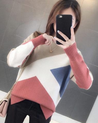 AL919 : Áo len dệt kim dáng suông phối màu sọc chéo