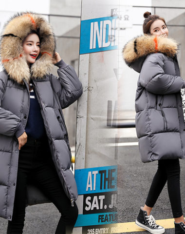 K1880 : Áo khoác phao bông tự nhiên 3 lớp thân dài mũ lông thú
