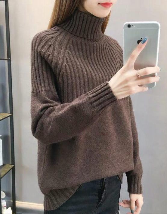 AL938 : Áo len dệt kim sọc nửa thân cổ lọ gập