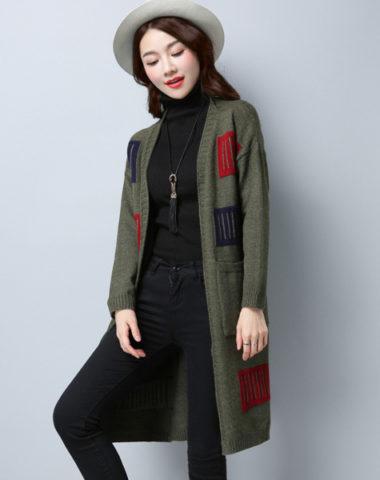 K1988 : Áo khoác len thân dài 2 túi phối sọc ô vuông HQ