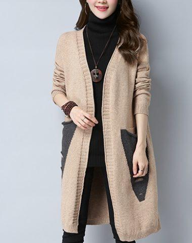 K1989 : Áo khoác len dệt kim thân dài cardigan HQ 2 túi chéo