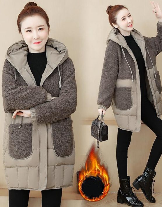 K19102 : Áo khoác phao phối lông cừu có mũ sau 2 túi