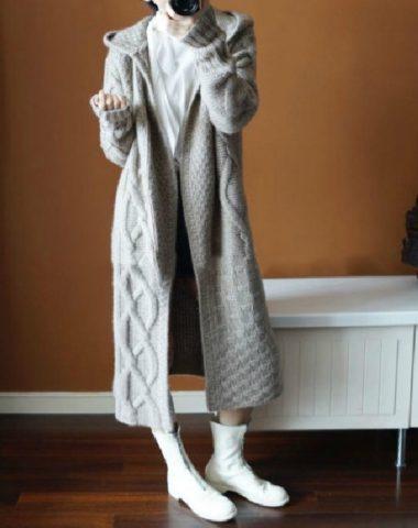 K1990 : Áo khoác len thân dài dày có mũ sau