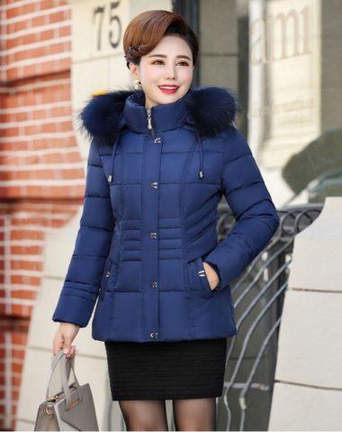 K19103 : Áo khoác phao trung niên lông vũ cao cấp thân ngắn mũ lông thú