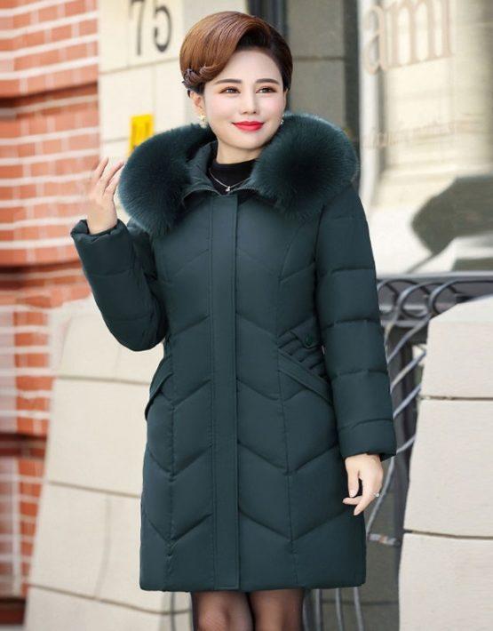 K19105 : Áo khoác phao trung niên lông vũ cao cấp thân dài