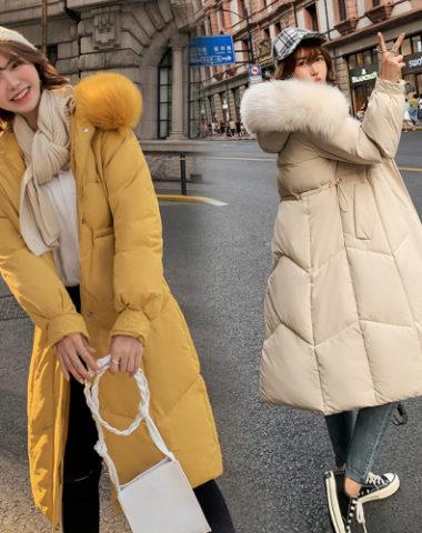 K19106 : Áo khoác phao thân dài xòe 4 lớp mũ lông thú ấm áp