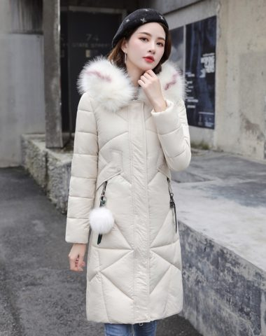 K19107 : Áo khoác phao thân dài mũ lông thú túi kéo khóa bông